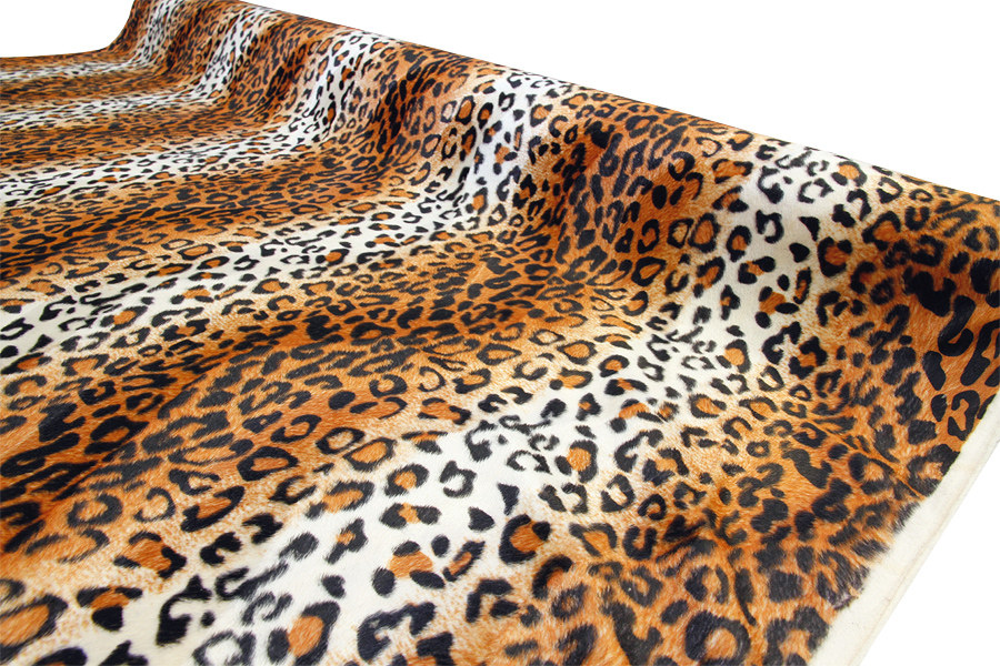 Velour kangas Leopardi oranssi (TP067V), Kankaat, Tekoturkis ja Eläinkuosit