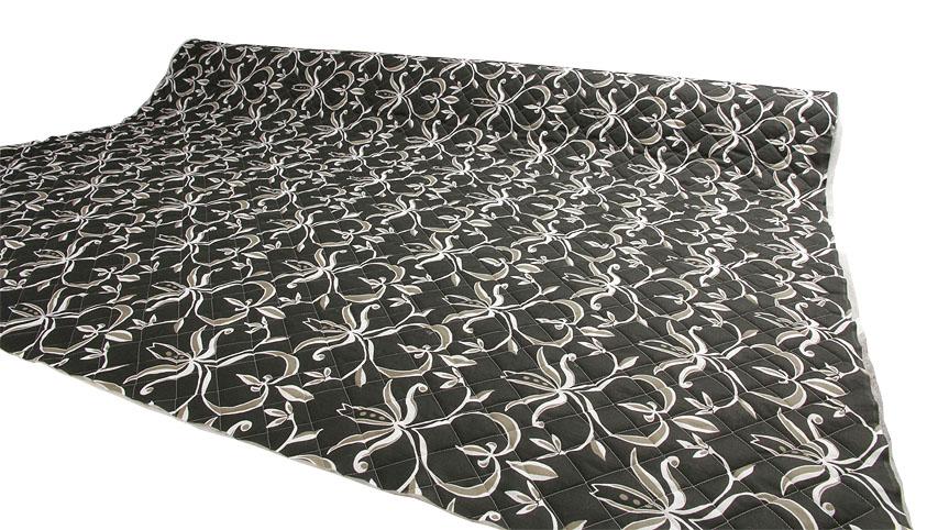 Tikattu mustapohjainen patjakangas leveys 220cm (DX12), Kankaat, Patjakangas