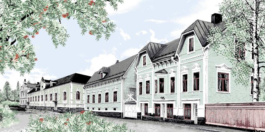 Vallila kangas, Kortteli lev. 150cm (V147V), Kankaat, VALLILA kankaat