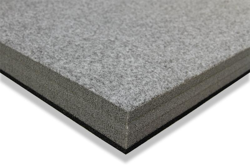 Solumuovialusta huopapinnoitteella n. 100x200x4cm Hiilenmusta (IN40V), Solumuovit, Solumuovit paloittain
