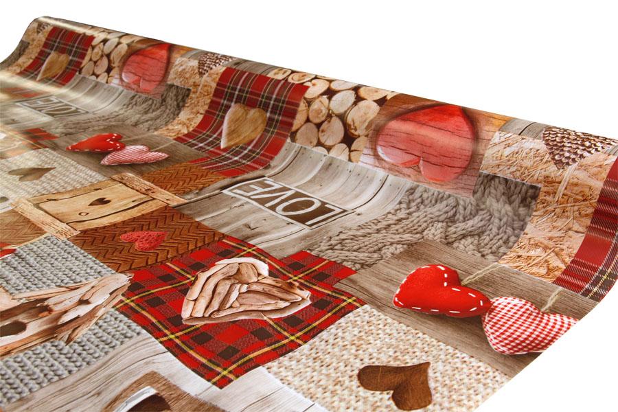 Joulu vahakangas Sydän Lev. 120cm (J24V), Vahakankaat ja pitsiliinat, Joulu vahakangas