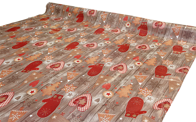 Joulu vahakangas Ruskea Lankku lev. 140cm (J116V), Vahakankaat ja pitsiliinat, Joulu vahakangas