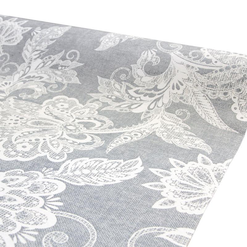 Vahakangas Akrylaatti Floral Siniharmaa (MT127V), Vahakankaat ja pitsiliinat, Tekstiilivahakankaat