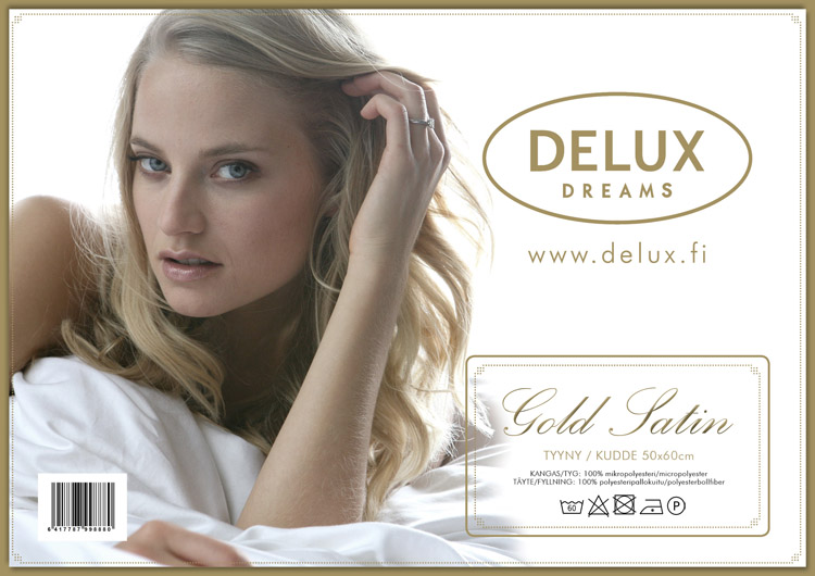 Delux Gold Satin-tyyny  50x60cm DX18V, Tyynyt ja sisätyynyt, Nukkumatyynyt