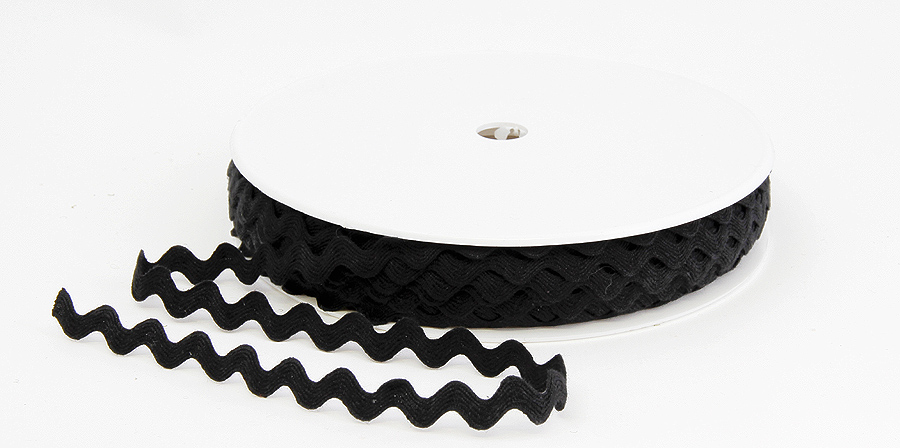 SIKSAK-nauha lev. 11 mm Musta (918100), Ompelutarvikkeet, Nauhat ja nyörit