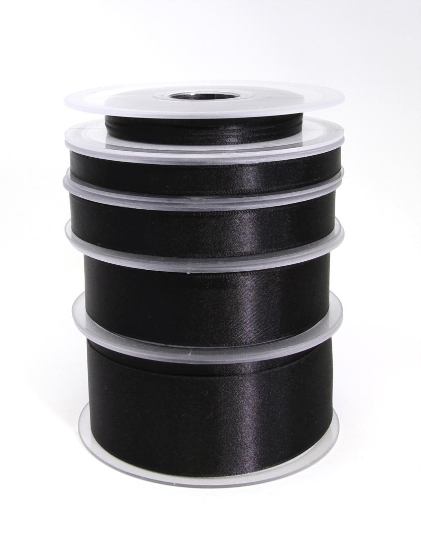 Tuplasatiininauha 25mm Musta 982700, Ompelutarvikkeet, Satiininauhat